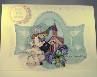 Holy Communion Decoupage Greeting Card for Girl, Praying