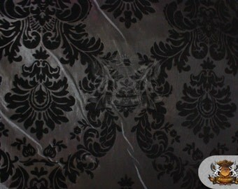 "Taffeta Damask Flocking Fabric 04 BLACK GRAY Backing / 58"" Wide / Sold by the yard"