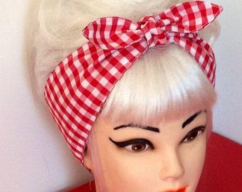 Rockabilly Head scarf Headband Red White GINGHAM Pinup Vintage Retro Style 50s Head Wrap Tie