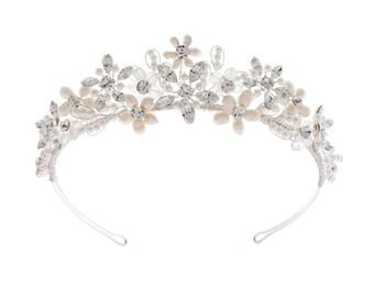 Pretty Beaded Pearl & Crystal Wedding Tiara