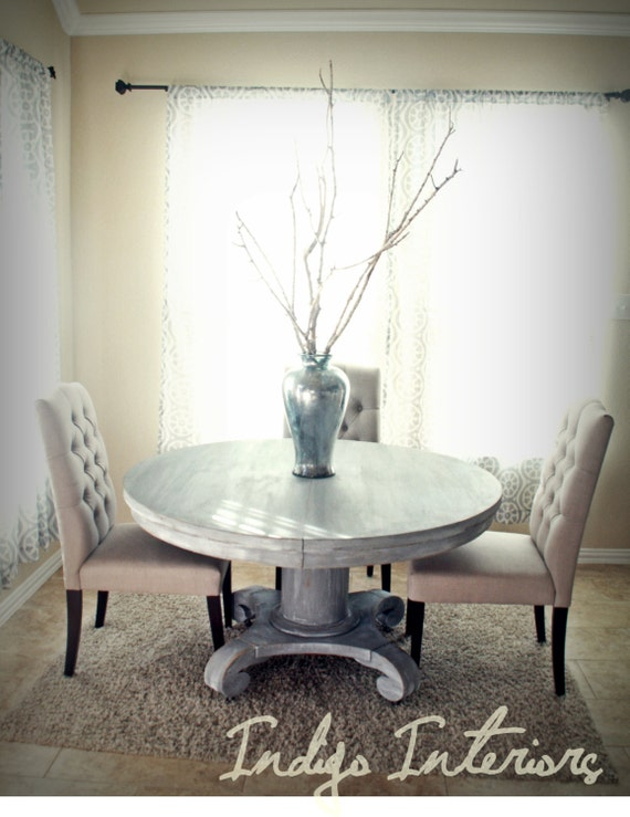Vintage gray and white washed round pedestal dining kitchen for Gray kitchen table and chairs