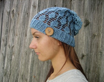 Crochet Summer Hat, blue cotton summer slouch Blue cotton hat, blue slouch Hand Crochet Hat Womens Hat - slouchy Hat , sun hat, women hat
