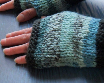 WOMANS GLOVES  Womans Handknit Fingerless Gloves in Blue and Green Handknit Gloves Fall Winter Gloves Womans Accessory/DOOLIN