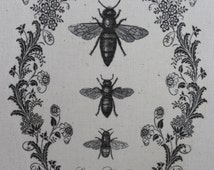 Three bees in pretty ornate scroll with crown, hand printed on to calico cotton