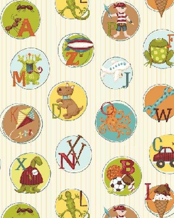 One yard mischief play chips in cream little boy fabric for Little boy fabric