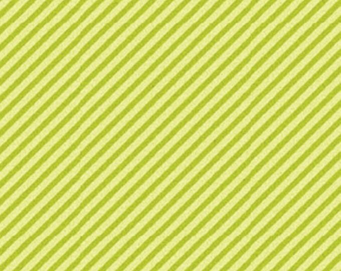 "13"" REMNANT Curiosities - Diagonal Stripe in Pistachio Green - Little Girl Fabric Line Designed by Nancy Halvorsen for Benartex (w910)"