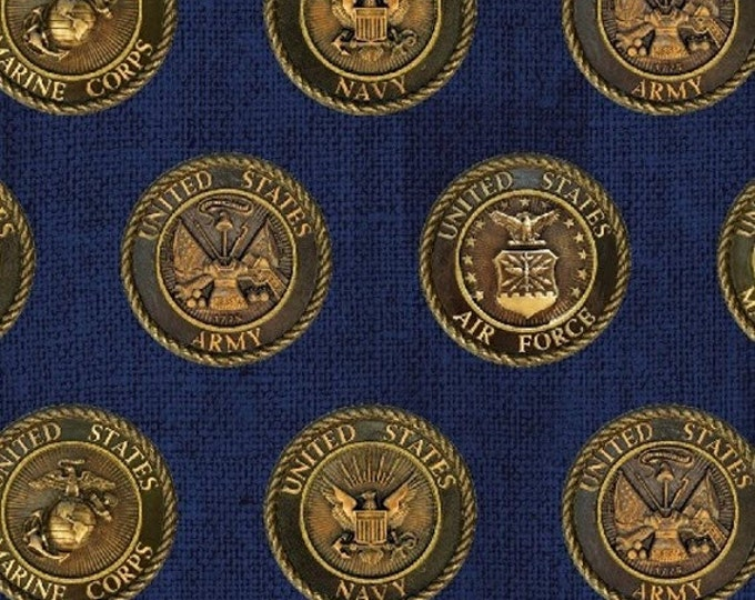 Half Yard American Heroes - Armed Forces Badges in Navy - Cotton Quilt Fabric - by Whistler Studios for Windham Fabrics (W1298)