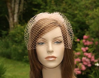Blush Bird Cage Veil & Detachable Flower Fascinator Wedding Hairpiece Blusher Veil 3 Piece Set