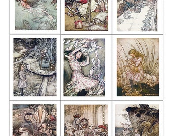Fabric Panels x9; Alice in Wonderland, Rackham, 100% cotton, Quilting, Applique, Craft