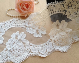 Off White Rose Lace Trim, Vintage Cotton Lace, Embroidered Mesh Lace, Wedding Bridal Lace