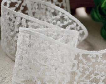 Vintage French off White Lace Trim Embroidery Tulle Lace Wedding Fabric 1.65 inches wide 2 yards