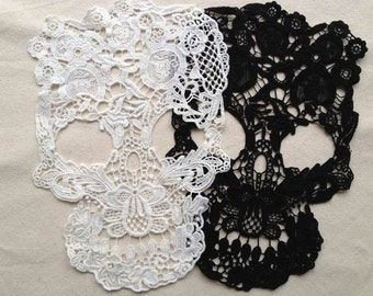 Lace Applique, Skull Lace Appliques, Cotton Lace Trim, Costume design, 2 Pcs