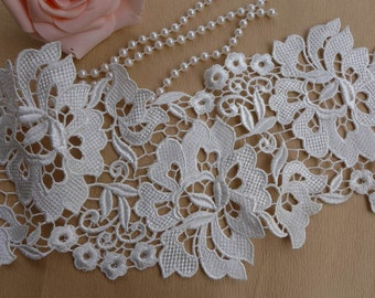 White Lace Trim with Rose design, Chic Venise Lace Fabric Trims, Wedding Gown Supplies, Fashion Design, Jewelry Supply