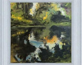 Original Contemporary Impressionist Oil Painting of a river scene