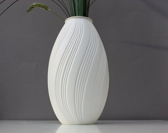 Bisque vase porcelain white Op Art stripes relief Germany M Frey for AK Kaiser 70s