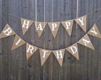 Happy Birthday Burlap Banner/Bunting