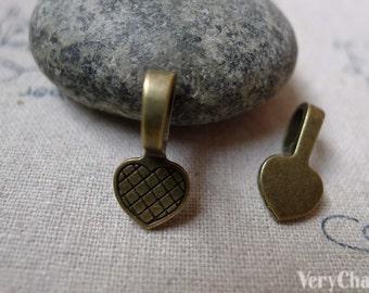 Heart Bail Antique Bronze Charms 9x19mm Set of 30 pcs A6089