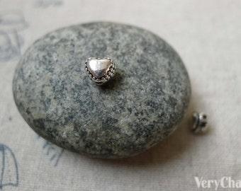 50 pcs Antique Silver Rondelle 3D Tiny Heart Beads 6mm A6291