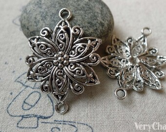 10 pcs of Antique Silver Lovely Filigree Flower Connector Charms 27.5mm A6567