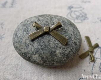 Bow Tie Beads Antique Bronze Bowtie 18mm Set of 30 pcs A6619