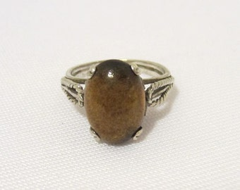 Vintage Art Deco Sterling Silver Cabochon High Dome Ring Size 7