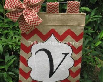 Personalized Burlap Garden Flag In Chevron * Initial Garden Flag*Summer Garden  Flag*Monogram