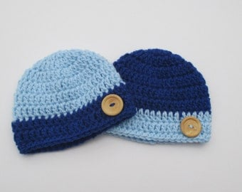 Twin's baby boy crochet hat set, baby hat, baby beanie, beanie hat, newborn hat,newborn hat, baby beanie, newborn beanie, Blue baby hat,