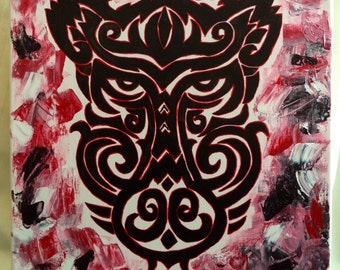 Original Razorback Acrylic Painting -  Tribal Face w/textured background 16 x 20