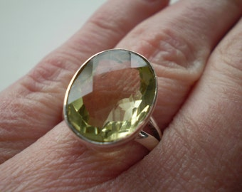 Lemon Topaz (Natural) 925 Sterling Silver Ring Size 6.75