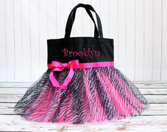 Dance bag, Zebra Tutu Bag, Girls tutu bag, Personalized tote, Ballet bag, Tote Bag, girl gift, princess tutu bag, custom name bag, tutu