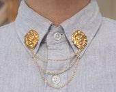 Gold Lion Head Collar/Cardigan Clip