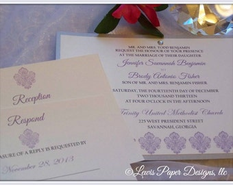 Pantone Color of the Year: Radiant Orchid - Purple and Silver Wedding Invitation
