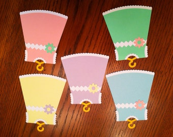 Baby Dress Favor Tags - Little Girl Favor Tags - Baby Shower Favor Tags - Decoration Tags Set of 12
