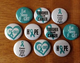 Cervical Cancer Pinback Buttons Set of 10 Cancer, Fight Cancer, Cervical Cancer Awareness