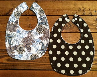 Baby Bibs - Set of 2 - Brown and Blue Paisley