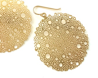 Large Round Modern Earrings, Circle Bubble Gold Earrings