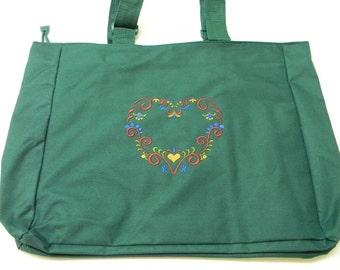 Embroidered Pocket Tote Bag ~ Scandinavian Folk Art Heart #823