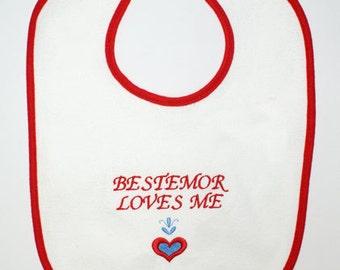 Scandinavian Embroidered Baby Bib - Bestemor Loves Me #B61