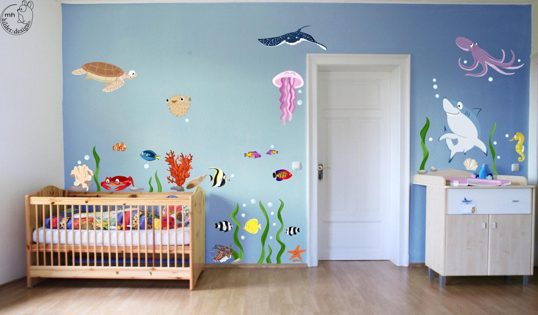 wandtattoo unterwasserwelt xxl ozean meerestiere von mhbilder. Black Bedroom Furniture Sets. Home Design Ideas