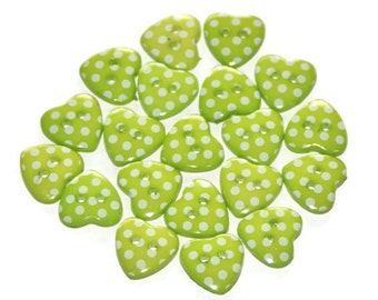 20 Love Heart Shaped Polka Dot 14mm Green White Resin Spotty Buttons