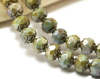Moss Green Lustre 5x6mm Rosebud Faceted Czech Glass Beads x 25