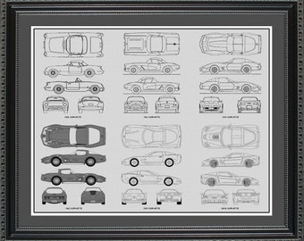 Corvette Blueprint Collection Drawing Art Car Auto Gift BCORV2024