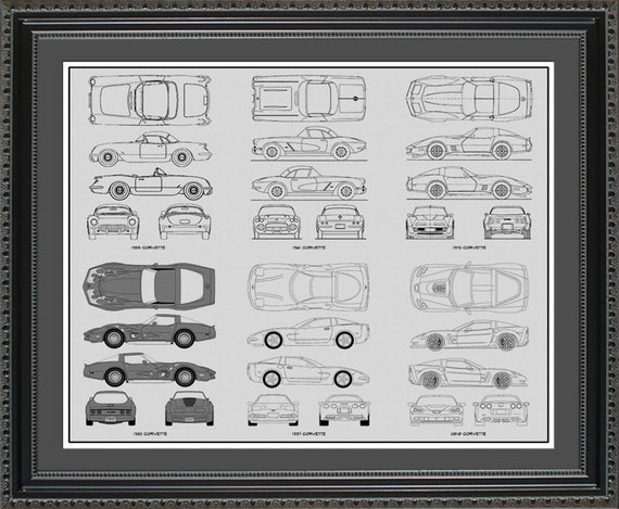 Corvette blueprint collection drawing art car auto gift like this item malvernweather Images