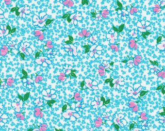 Fabri-Quilt Peggy Sue 120-4771 Small Tossed Floral on Blue by the Yard