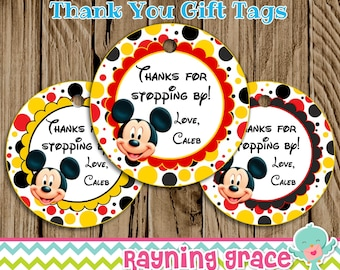 Mickey Mouse Printable Party Thank You/Gift Tags