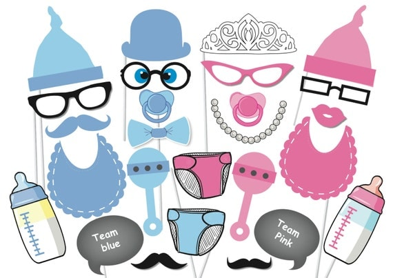 baby shower photobooth party props set 26 piece printable baby