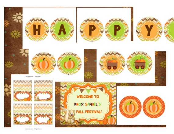 Chevron fall banner Happy Birthday digital