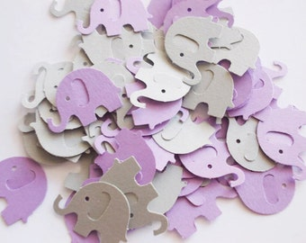 "Elephant Baby Shower Confetti, Lavender Purple & Gray Elephant Cutouts, Birthday Party, 200 Party Decoration, Table Confetti, 1"""