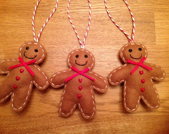 Handcrafted Felt Christmas Gingerbread Man Decoration