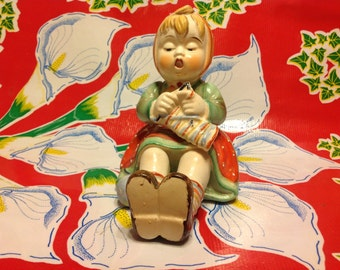 Vintage hand painted ceramic young seated girl knitting figurine- Japan